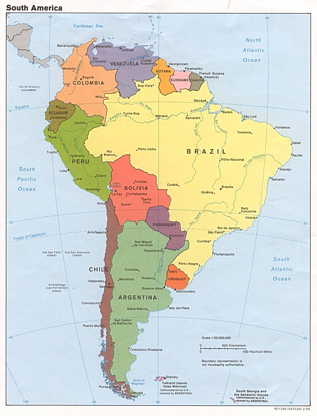 large political map of south america with all capitals