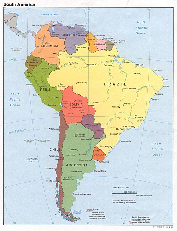Large political map of South America with all capitals.