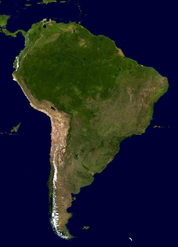 Large satellite map of South America.