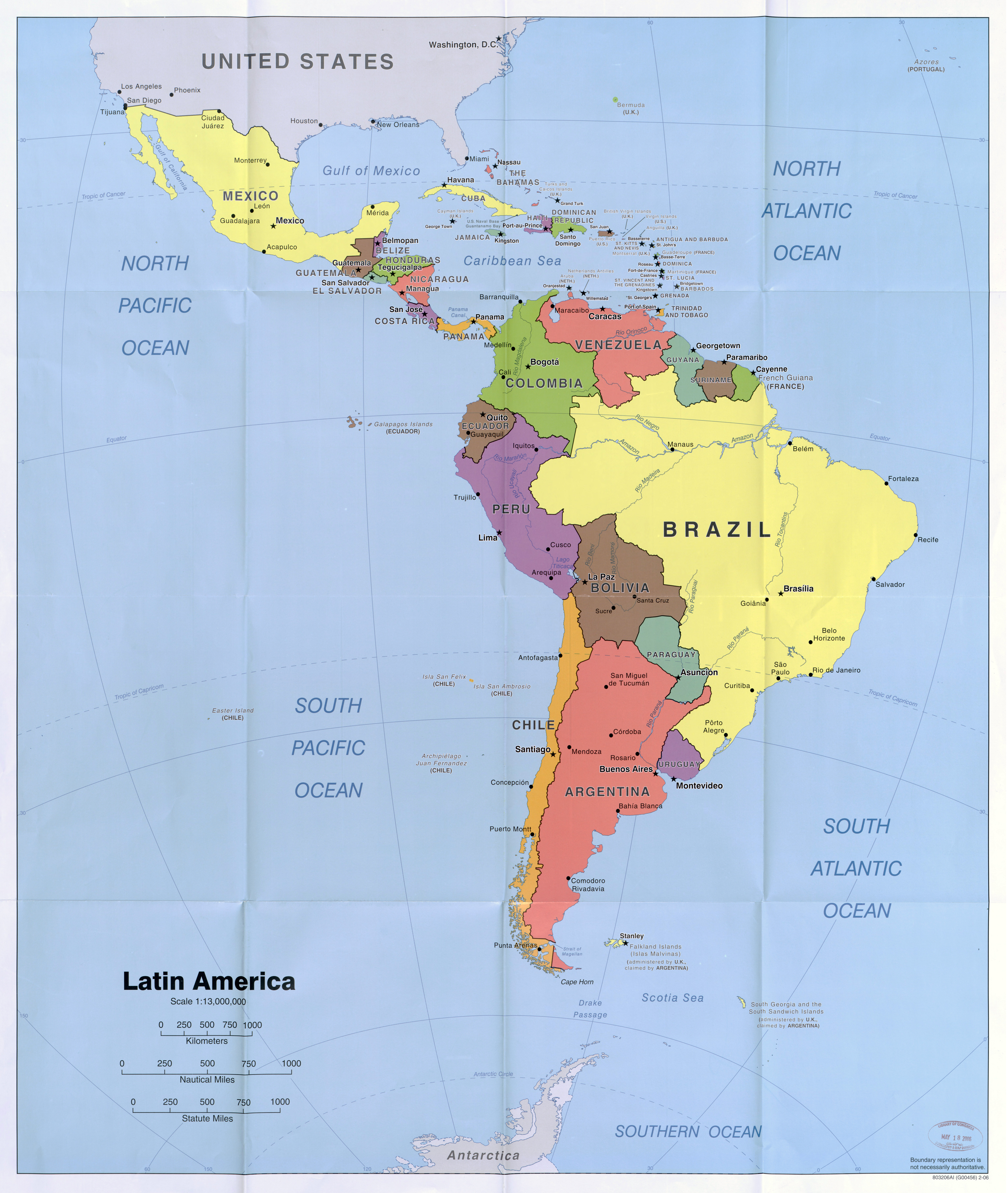 Large scale political map of Latin America with capitals and major ...