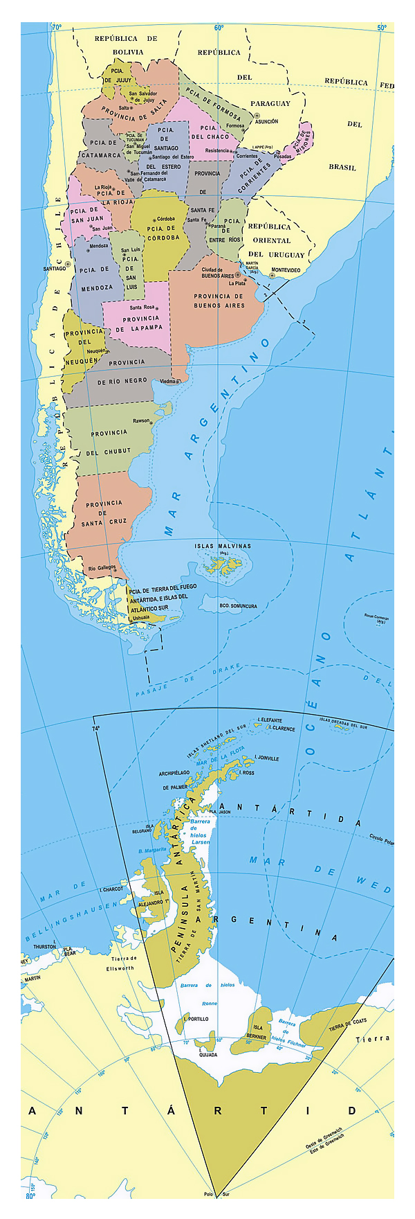 Administrative divisions map of Argentina. Argentina administrative map.