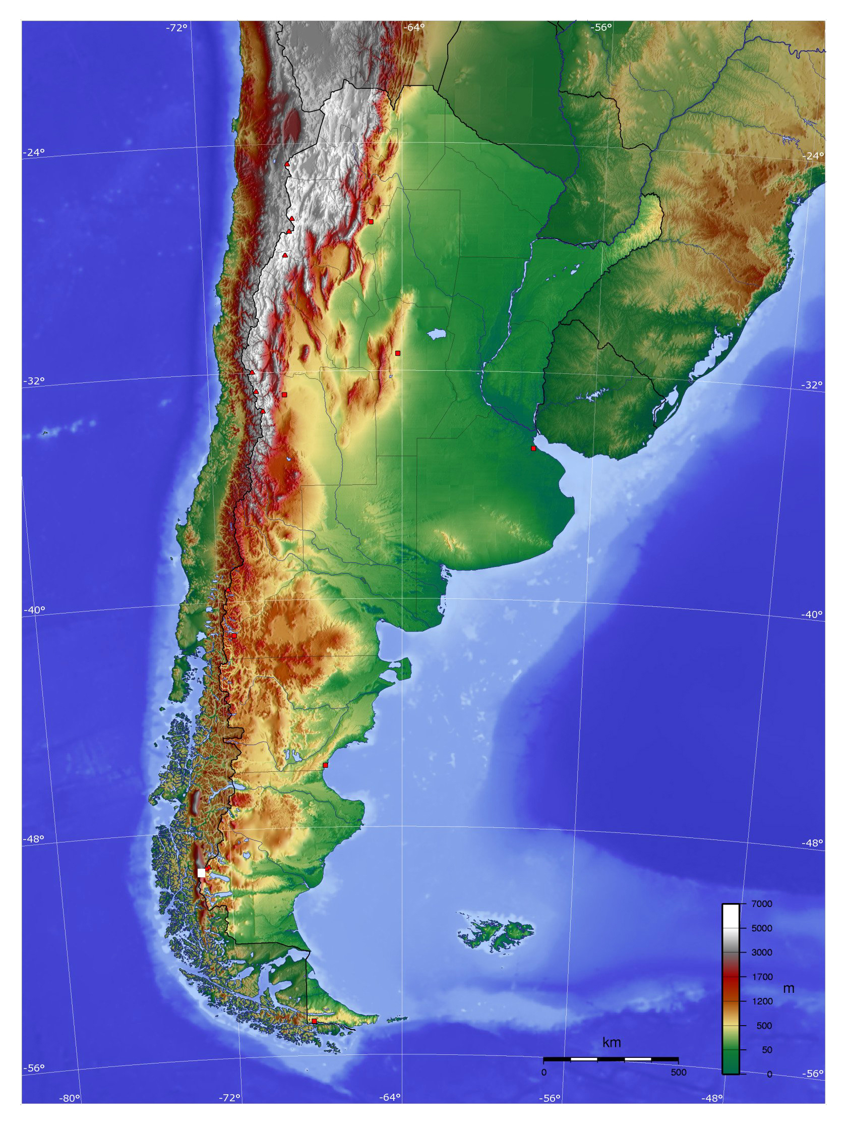 Argentina Physical Map Physical Map Of Argentina Vidianicom - Physical map of argentina