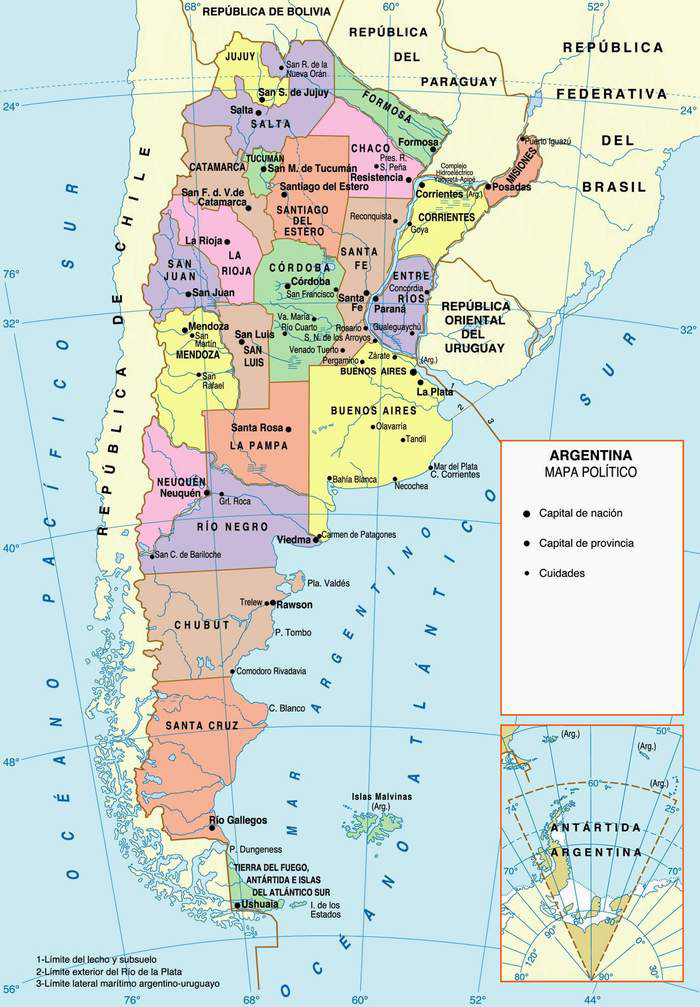 Argentina political map. Political map of Argentina.