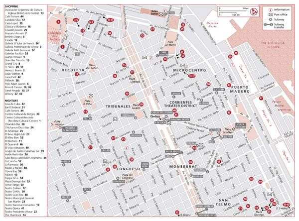 Detailed shopping and nightlife map of Buenos Aires city.