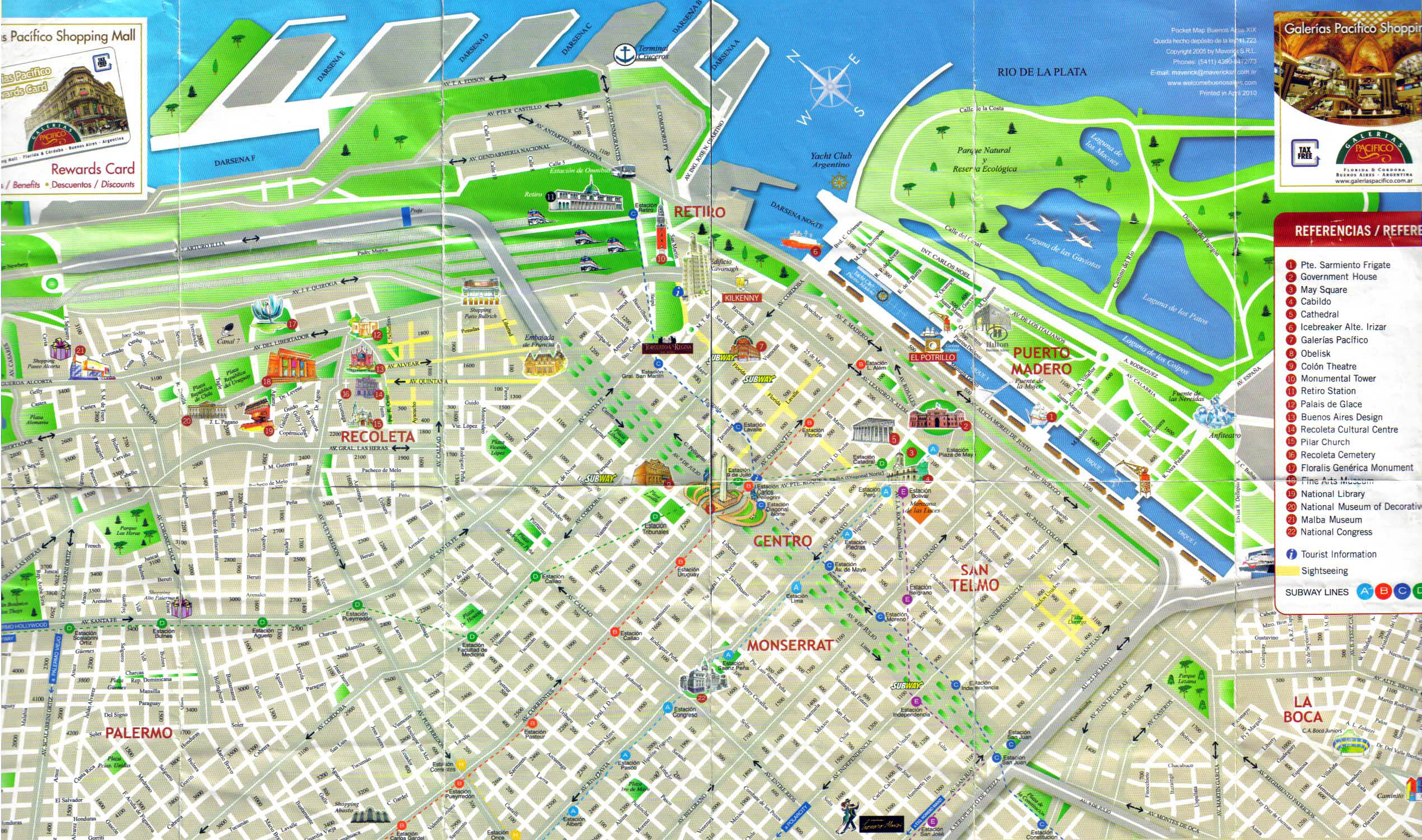 Detailed tourist map of central part of Buenos Aires city – Tourist Map Of Buenos Aires