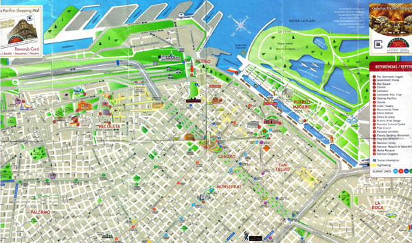 Detailed tourist map of central part of Buenos Aires city.