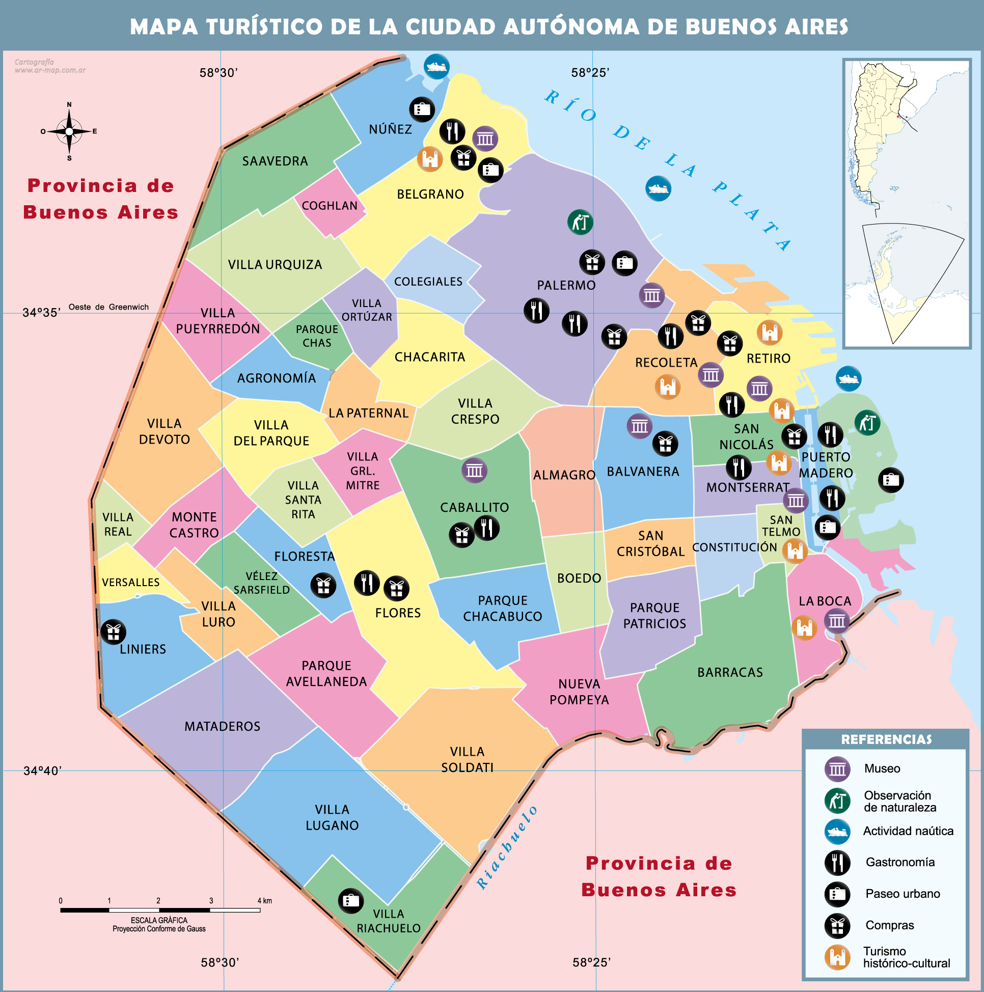 Large tourist and administrative subdivisions map of Buenos Aires – Tourist Map of Argentina