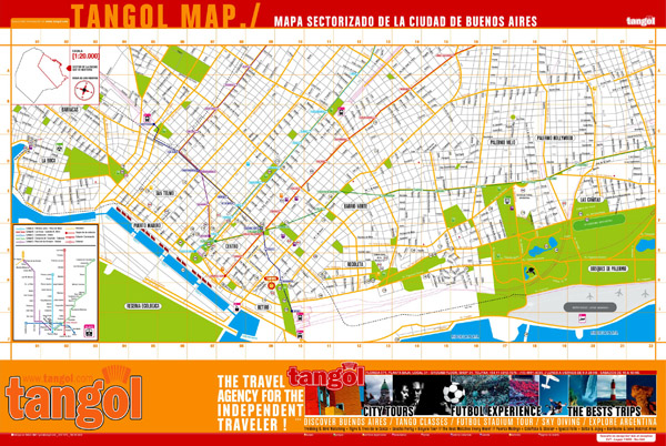 Large tourist map of central part of Buenos Aires.