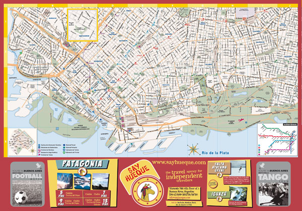 Large tourist map of central part of Buenos Aires city.