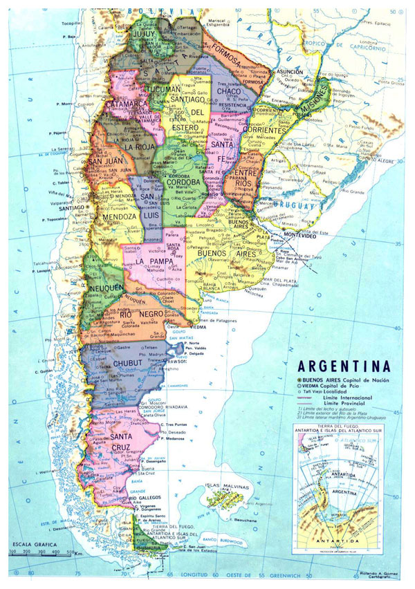 Detailed administrative map of Argentina. Argentina detailed administrative map.