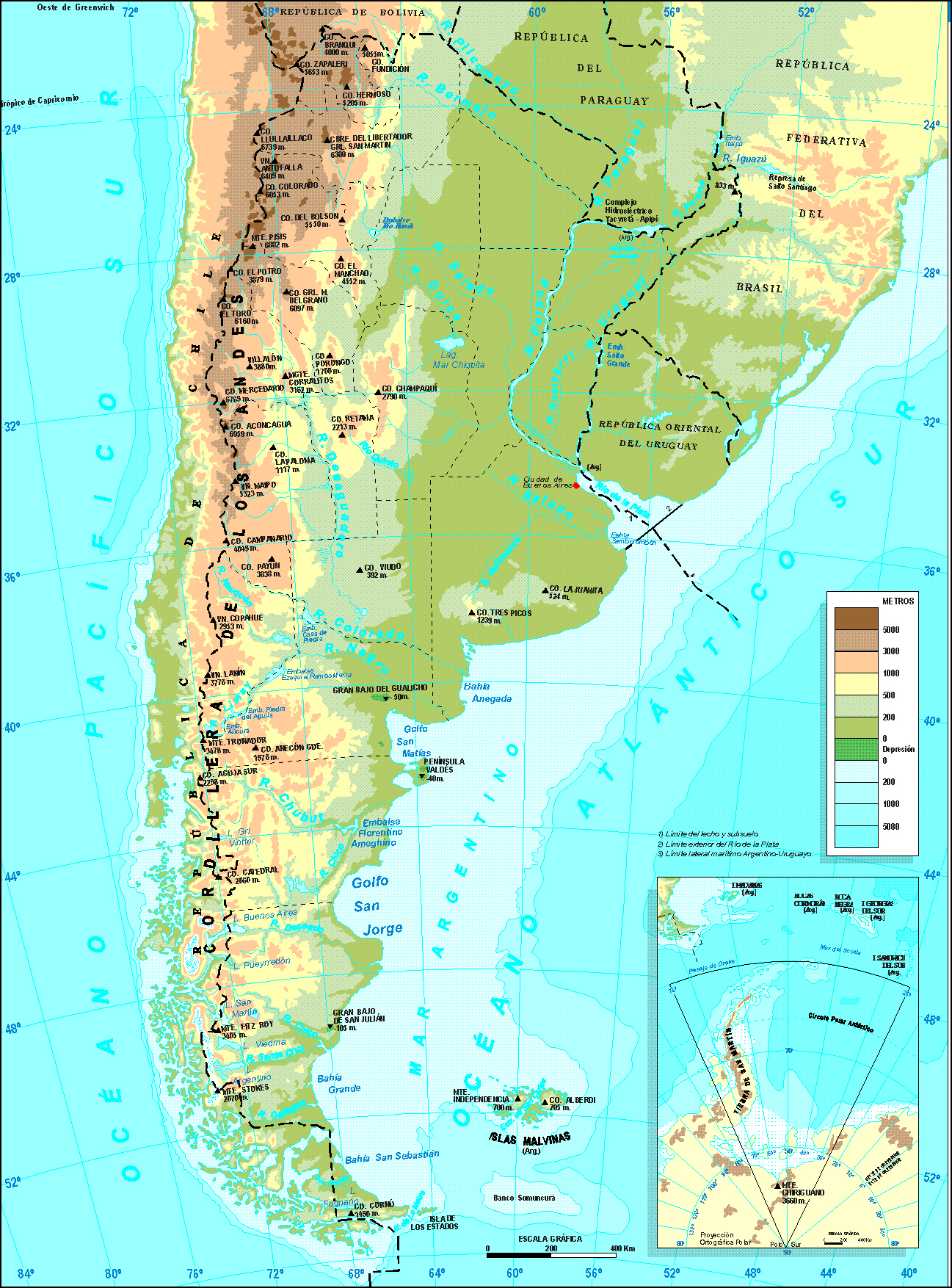 Detailed physical map of Argentina Argentina detailed physical – Tourist Map of Argentina