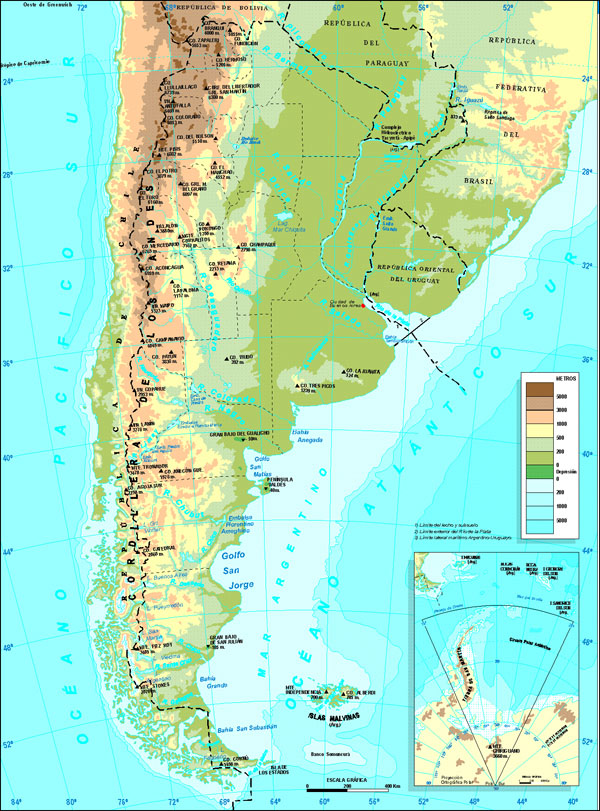 Detailed physical map of Argentina. Argentina detailed physical map.