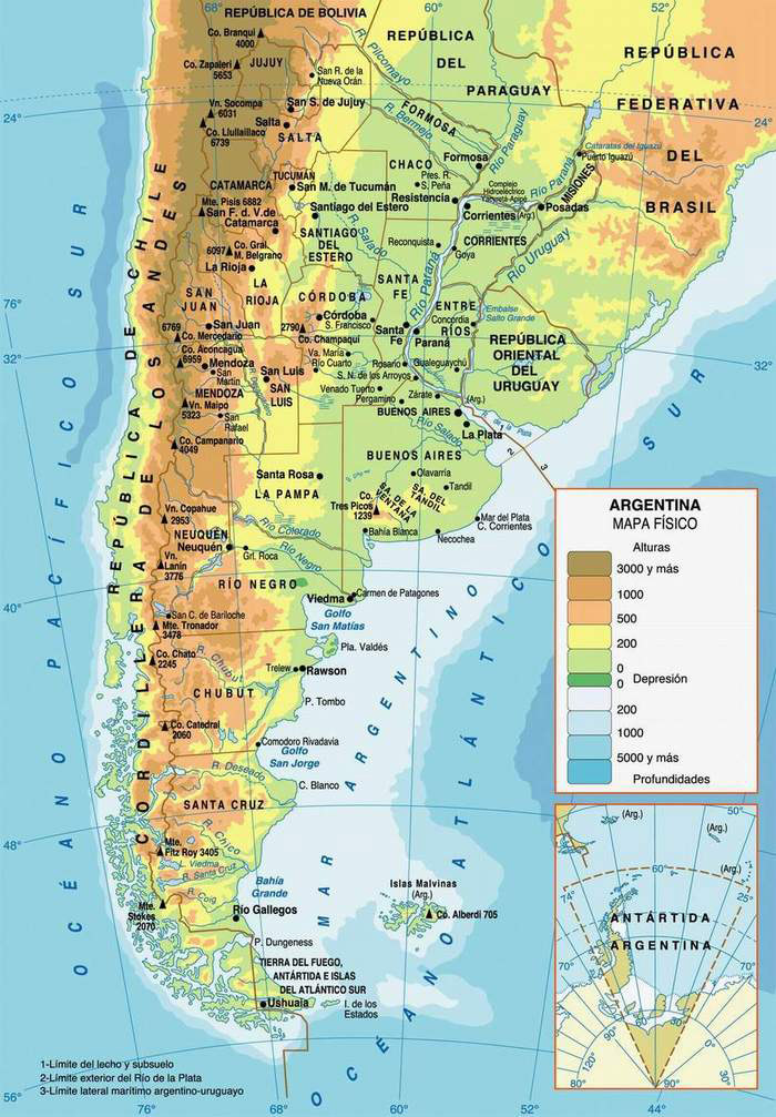 Detailed Physical Map Of Argentina With Cities Argentina Detailed - Argentina map cities