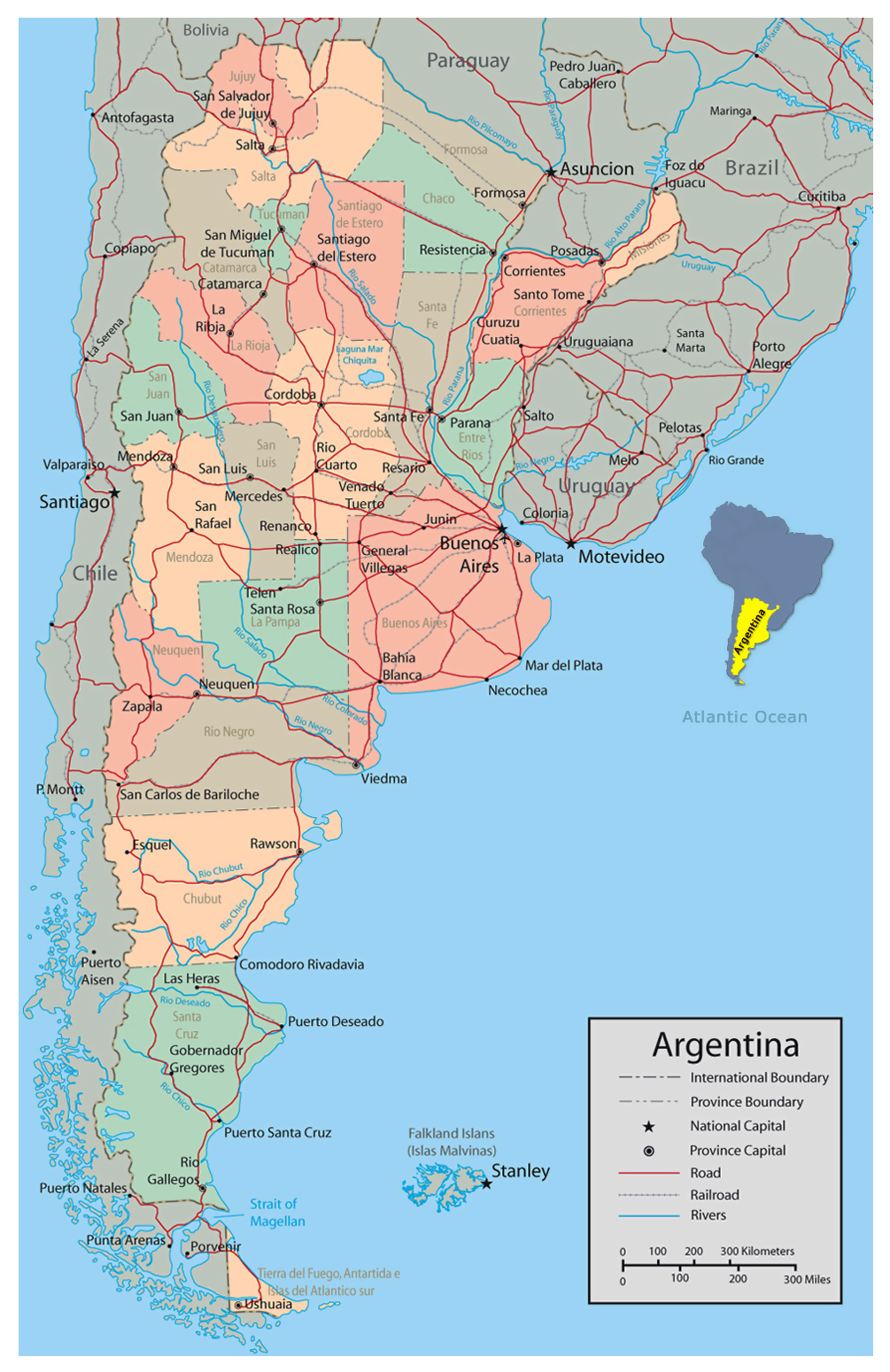 argentina major cities map Detailed Political And Administrative Map Of Argentina With Major argentina major cities map
