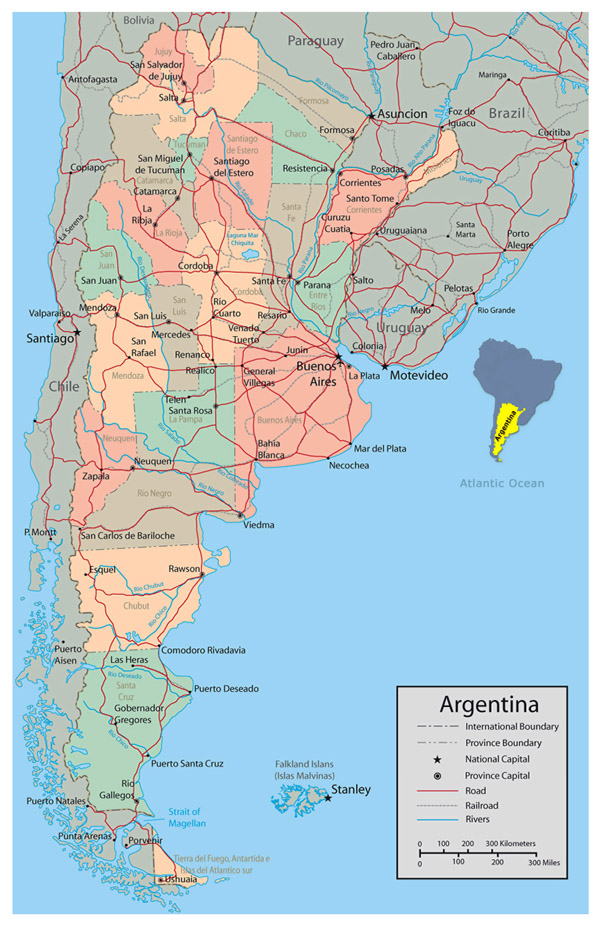 Detailed political and administrative map of Argentina with major roads and major cities.