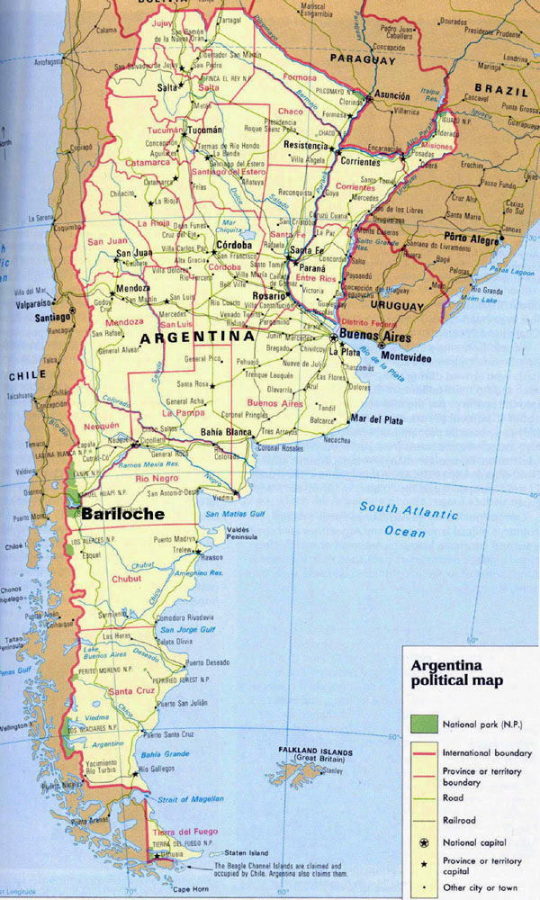 Detailed political map of Argentina with national parks.