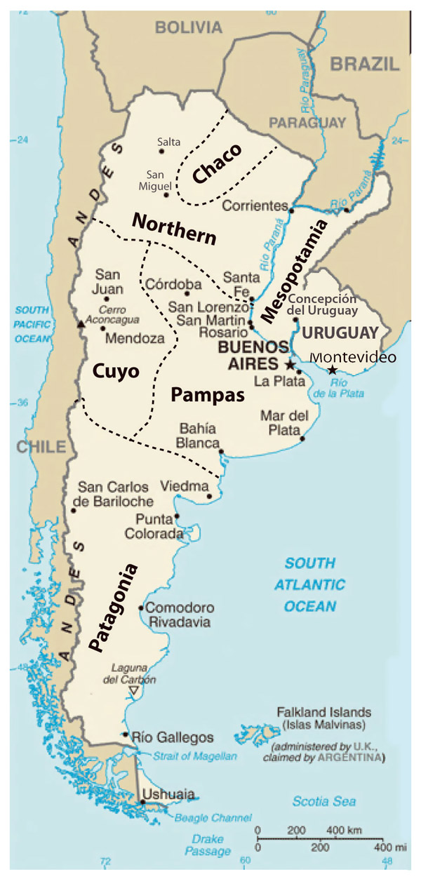 Detailed regions map of Argentina. Argentina detailed regions map.