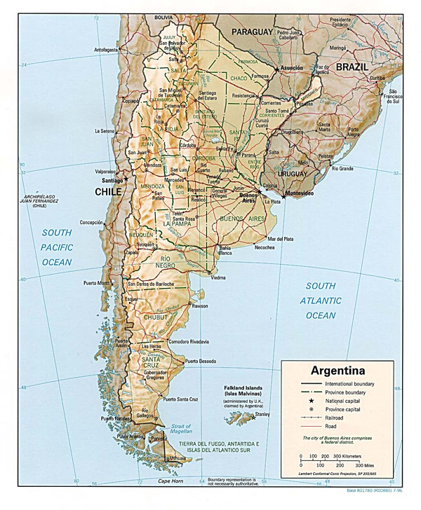 Detailed road and relief map of Argentina. Argentina detailed road and relief map.
