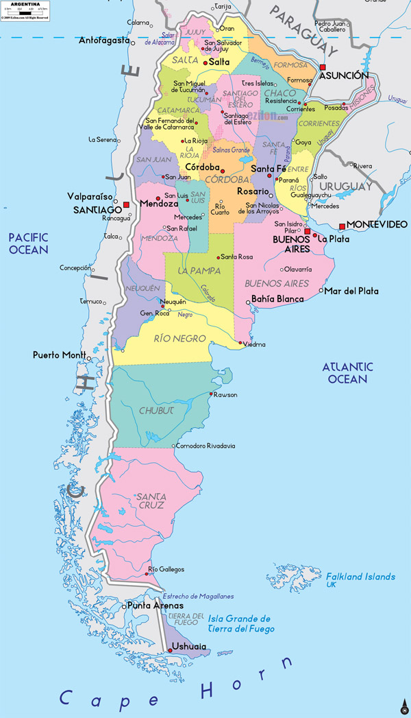 Large Detailed Administrative Map Of Argentina With Cities Argentina