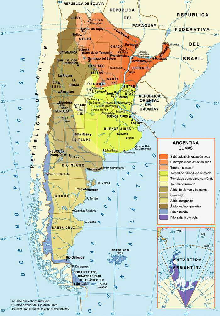 Large detailed climate map of Argentina.