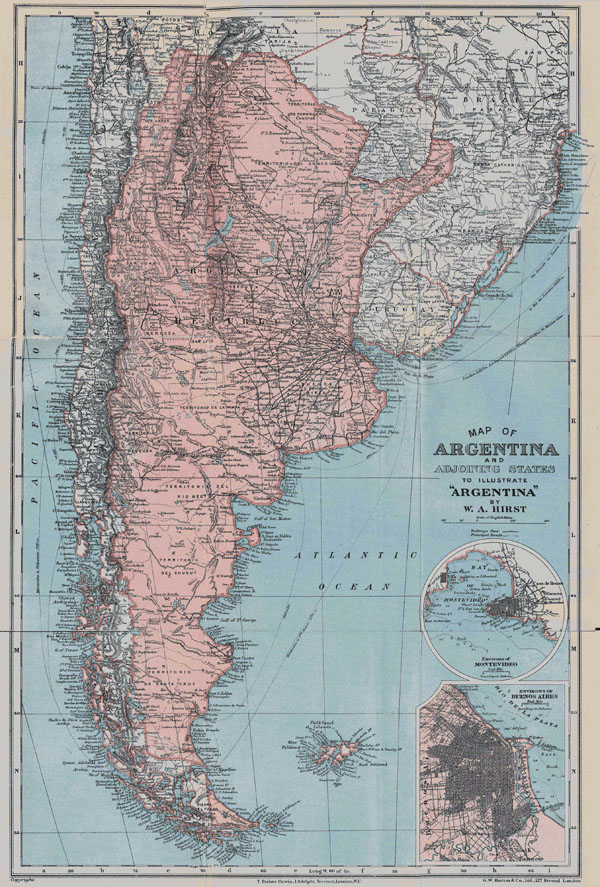 Large detailed old map of Argentina - 1900. Argentina large detailed old map - 1900.