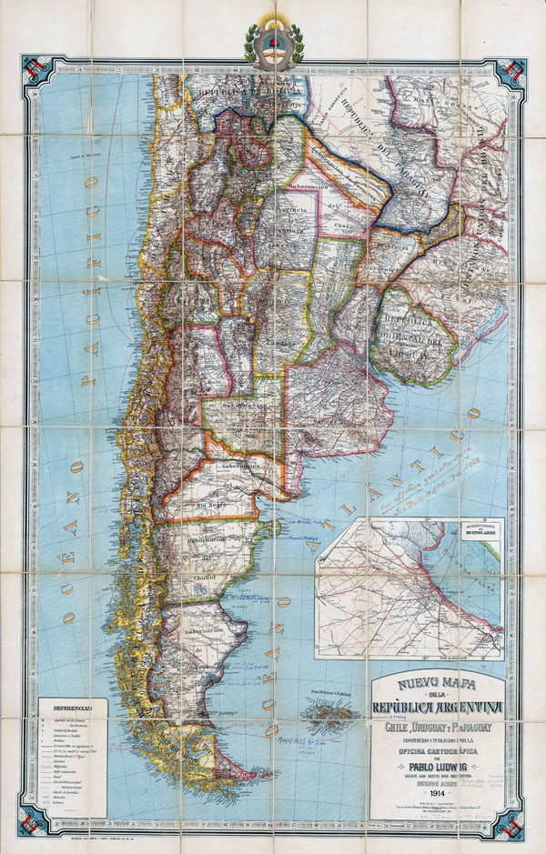 Large detailed old political map of Republic of Argentina, Chile, Uruguay and Paraguay with relief - 1914.