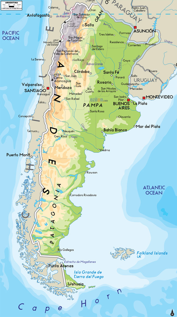 Large detailed physical map of Argentina with cities.