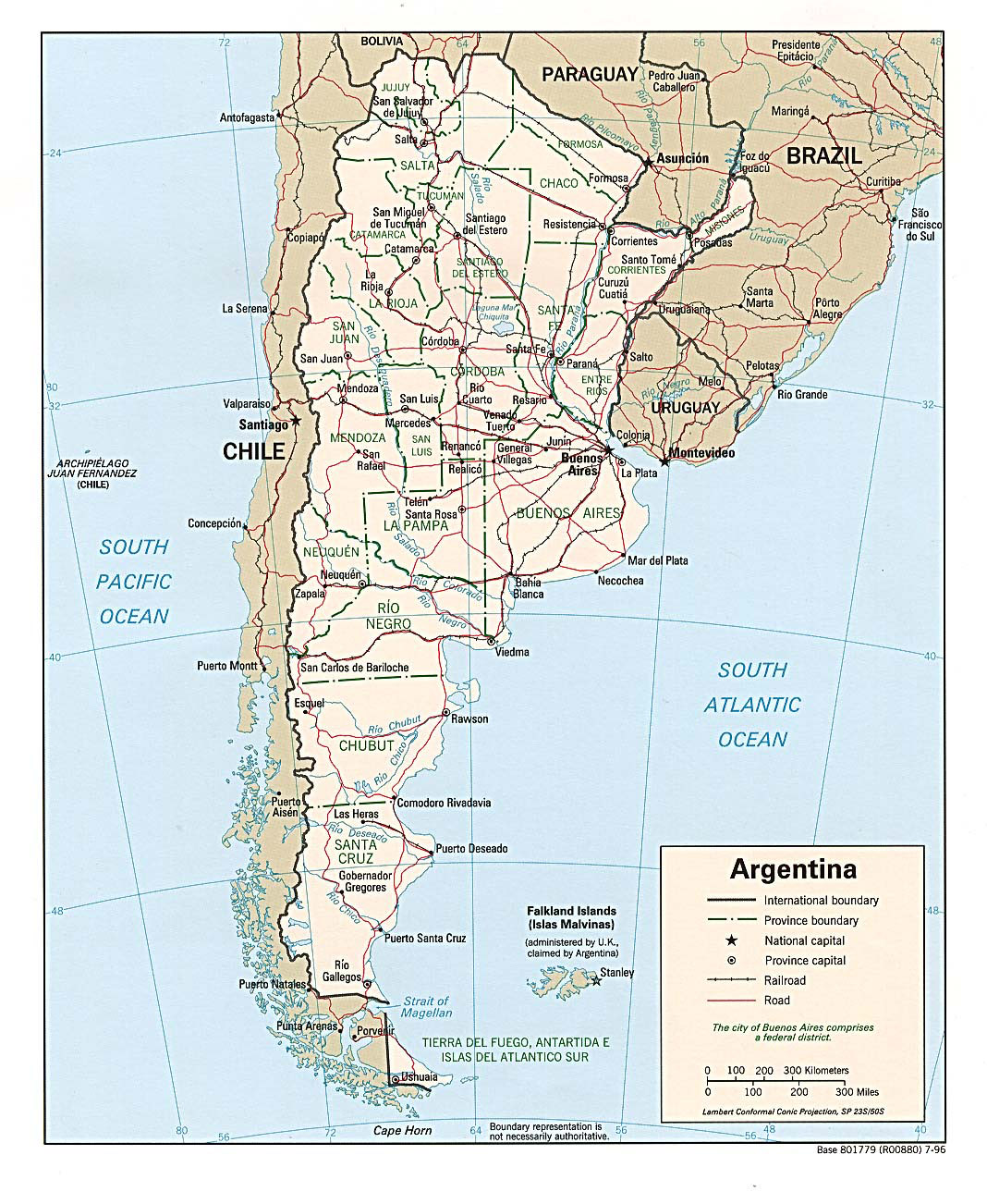 Large detailed political and administrative map of Argentina
