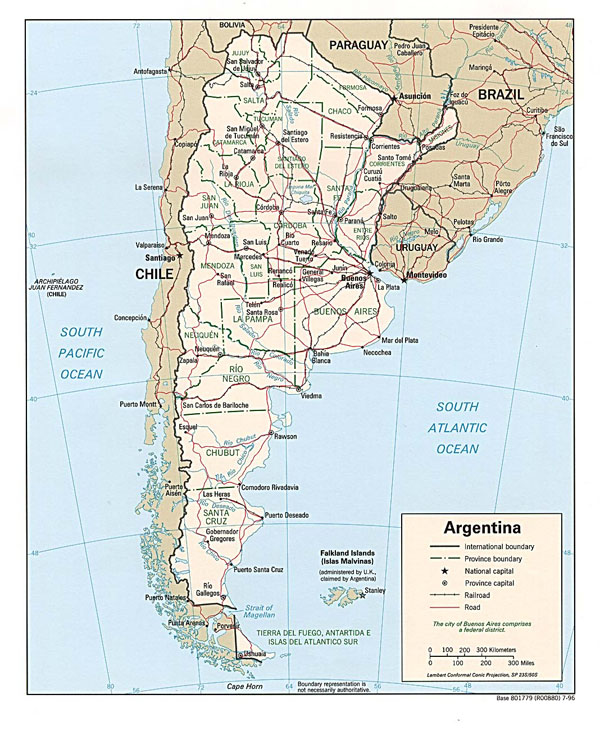 Large detailed political and administrative map of Argentina.