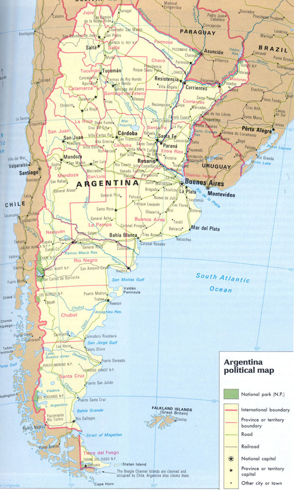Large detailed road and political map of Argentina.