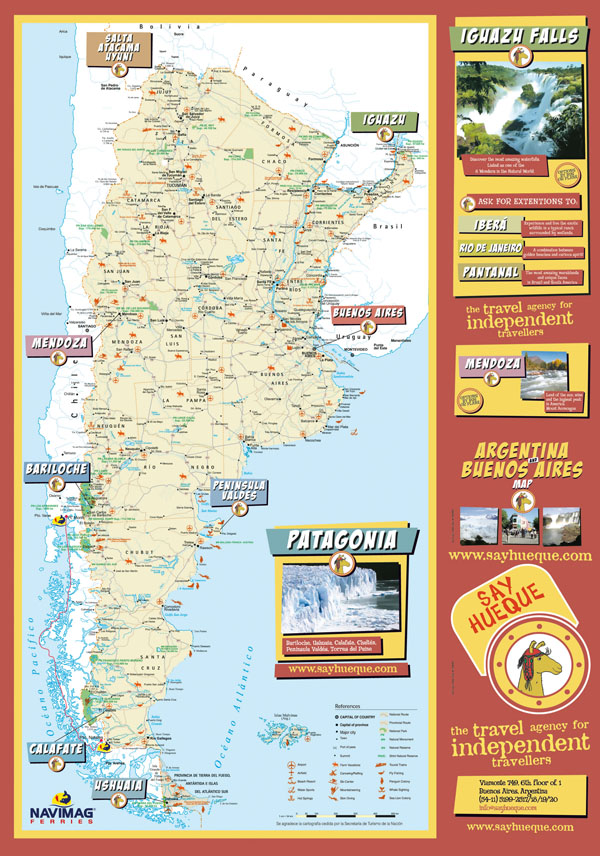 Large detailed tourist map of Argentina.