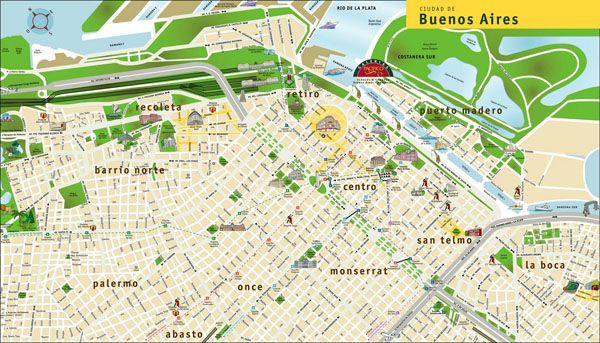 Large detailed travel map of Buenos Aires city.