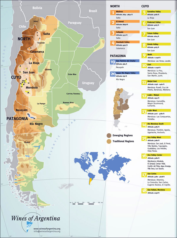 Large detailed wine regions map of Argentina.