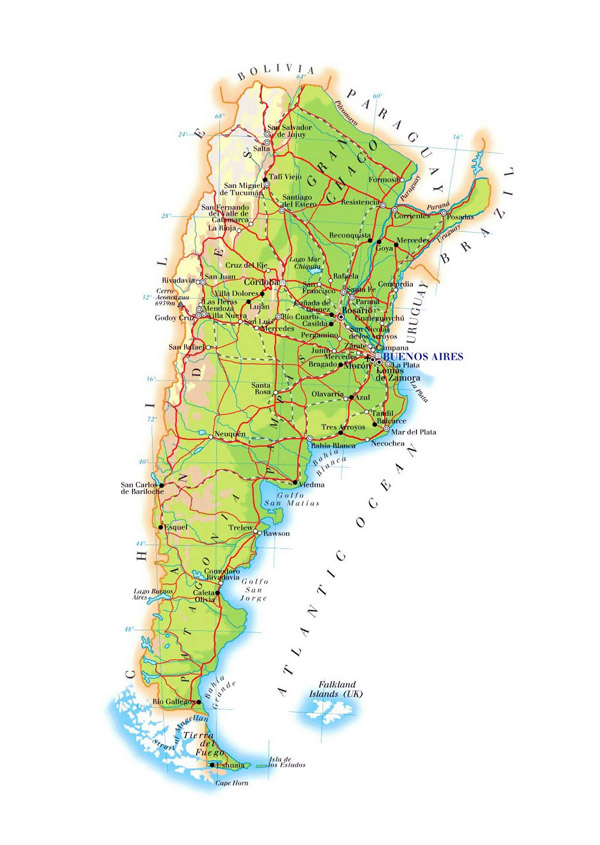 Large elevation map of Argentina with roads, cities and airports.