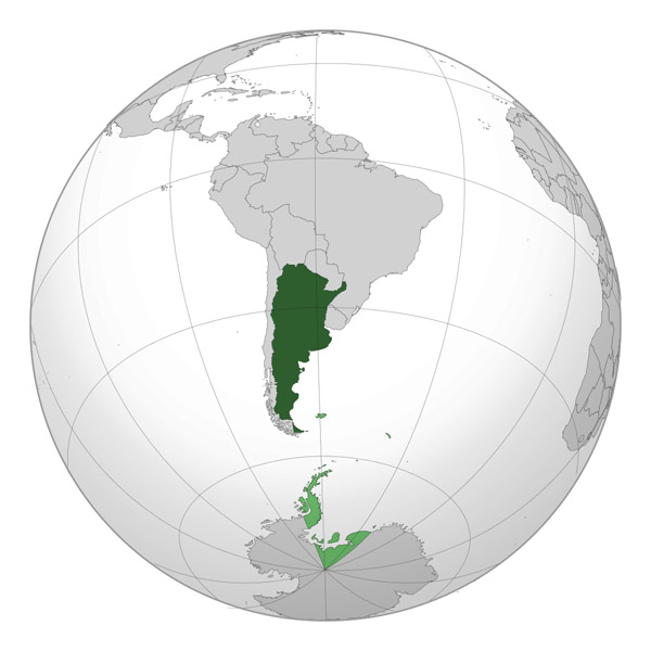 Large location map of Argentina in South America.