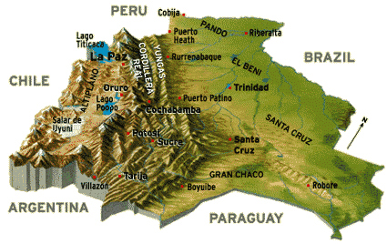 Detailed 3d map of Bolivia. Bolivia detailed 3d map.