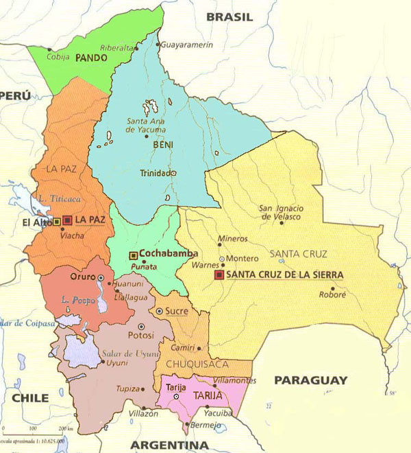 Detailed administrative map of Bolivia with cities.