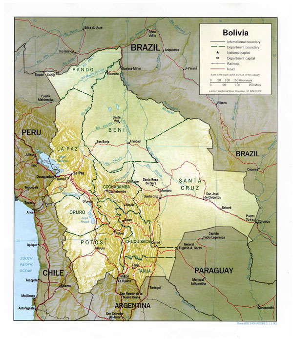 Large detailed political and relief map of Bolivia.