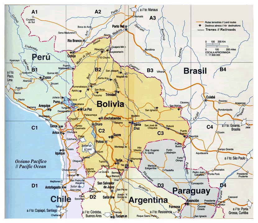Map Of Bolivia Bolivia Map Vidianicom Maps Of All Countries - Bolivia physical map