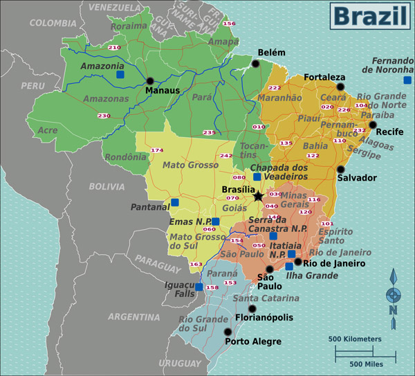 Administrative map of Brazil. Brazil administrative map.