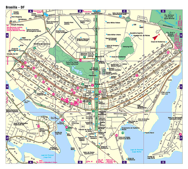 Detailed road map of Brasilia. Brasilia city detailed road map.