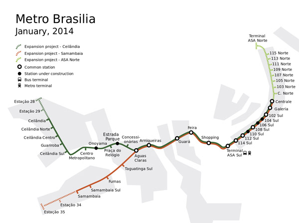 Large detailed metro map of Brasilia.
