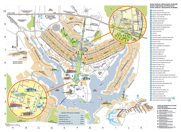 Large detailed tourist map of Brasilia.