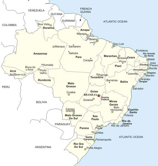 Brazil cities map. Cities map of Brazil | Vidiani.com | Maps of all ...