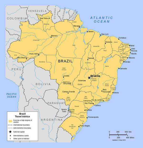 Detailed political and administrative map of Brazil with major cities.