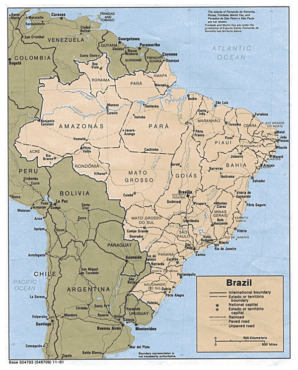 Detailed political map of Brazil with all cities.