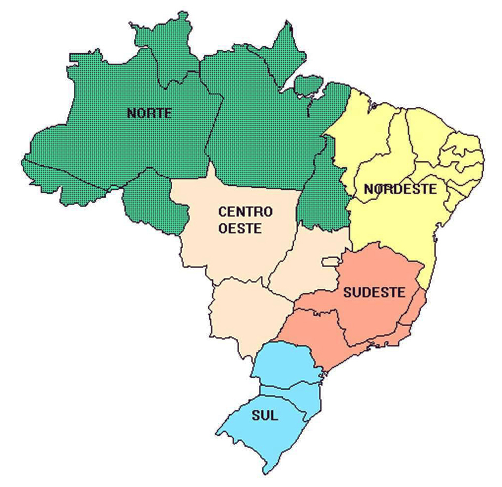 Detailed regions map of Brazil. Brazil detailed regions map  Vidiani