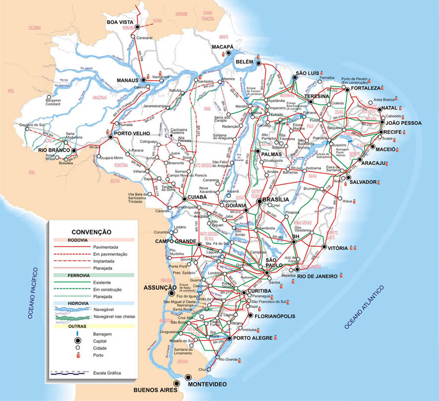 Detailed road map of Brazil with all cities. Brazil detailed road ...