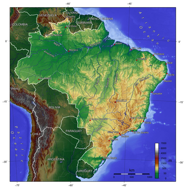 Detailed topographical map of Brazil. Brazil detailed topographical map.