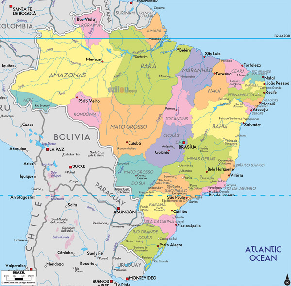 Large detailed administrative map of Brazil.